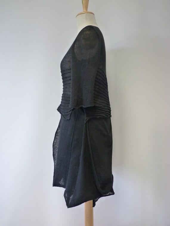 tunic linen Asymmetrical size L transparent black qvSwzF