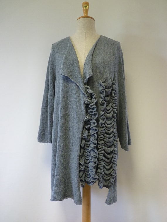 XXXL grey warm Boho Sale size wool knitted cardigan nqUYRaRw