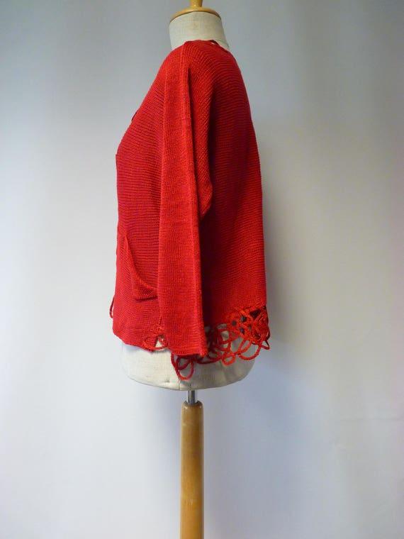 L artsy cardigan linen Casual size red FOwxqvIq8