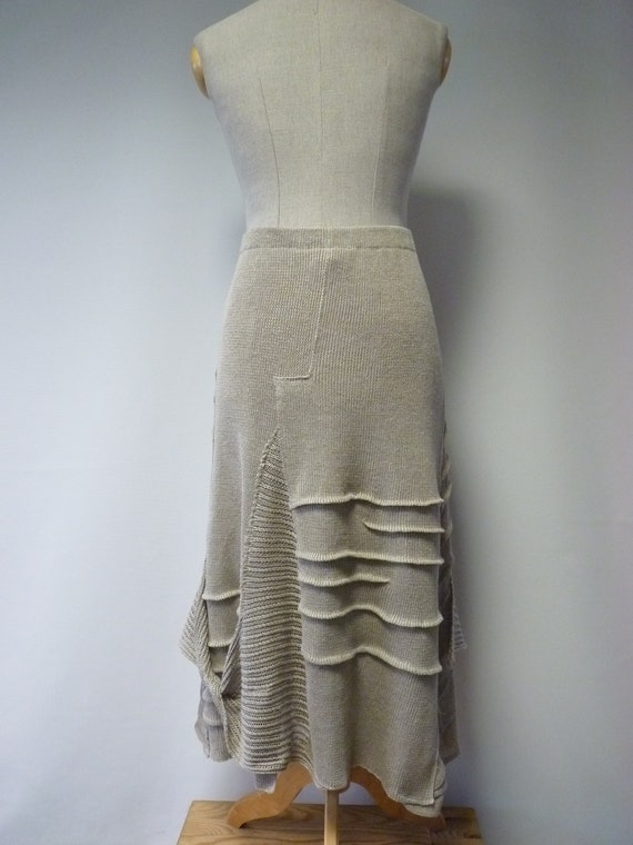 of skirt linen Knitted size pure XXL taupe Made qwCXxP