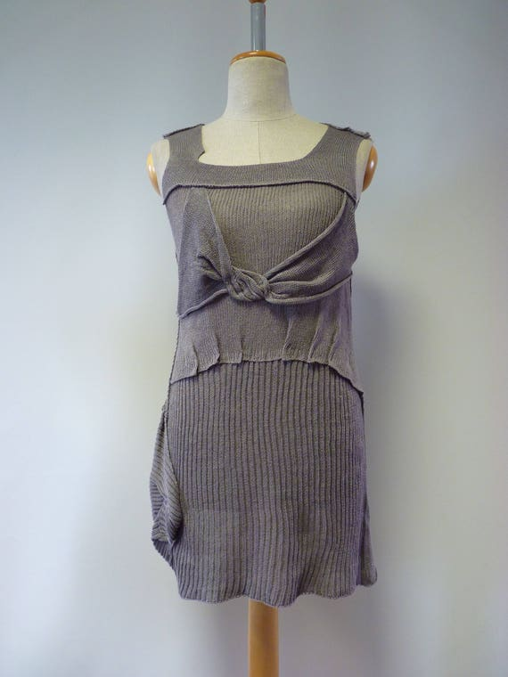 blouse Summer knitted M size linen grey qqrpv1