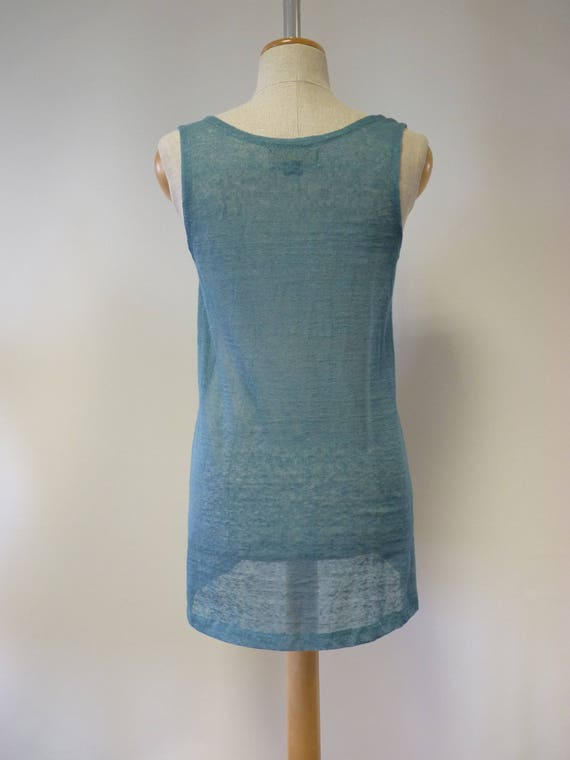 top M Summer aqua linen size transparent IqqtABpw