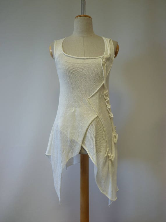 size S top asymmetrical white Summer linen off AS4wg