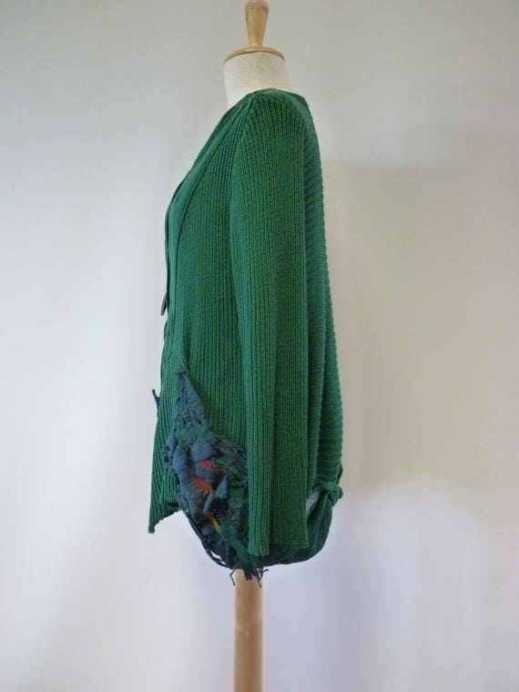 soft hot size amazing cardigan The with felted L cotton price decoration green Boho Made of FUdvqw