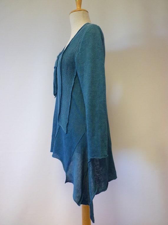 L Handmade sweater linen size petrol qCSAwOtxS