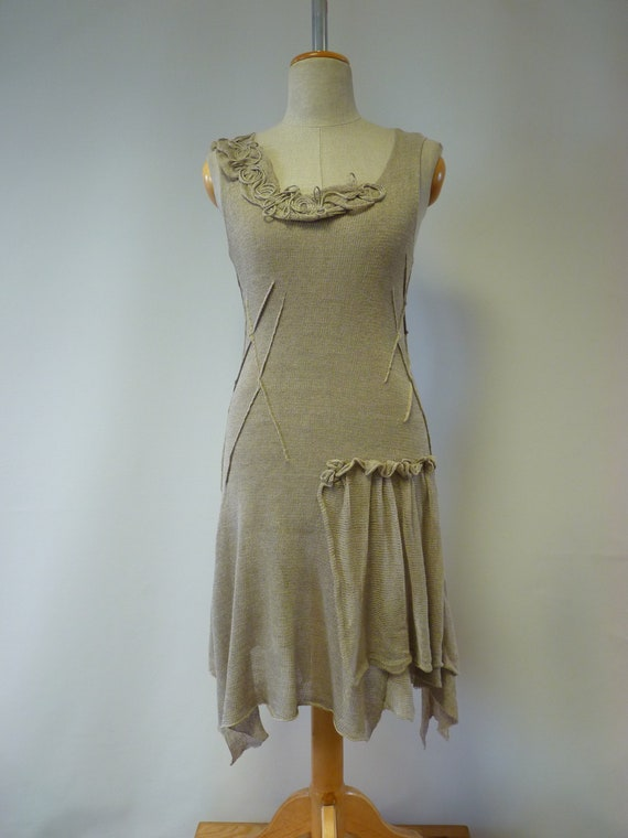 pure dress linen of perfect Summer for taupe size Feminine Made linen M 7fqZ0