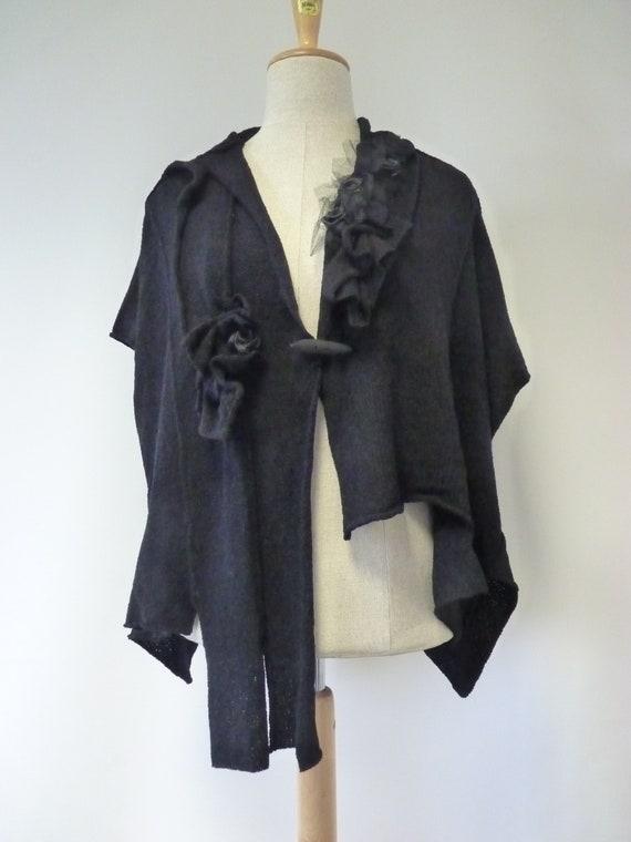 black L wool XL boho size Handmade vest vqx8R1w