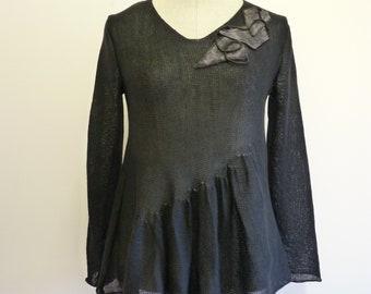 Feminine black linen sweater with wool decoration, size L.