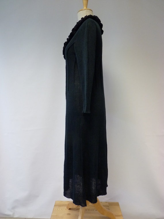 80 original EUR sample XL price new price only one Sale 124 long EUR Handmade Black linen dress size gcEIWq