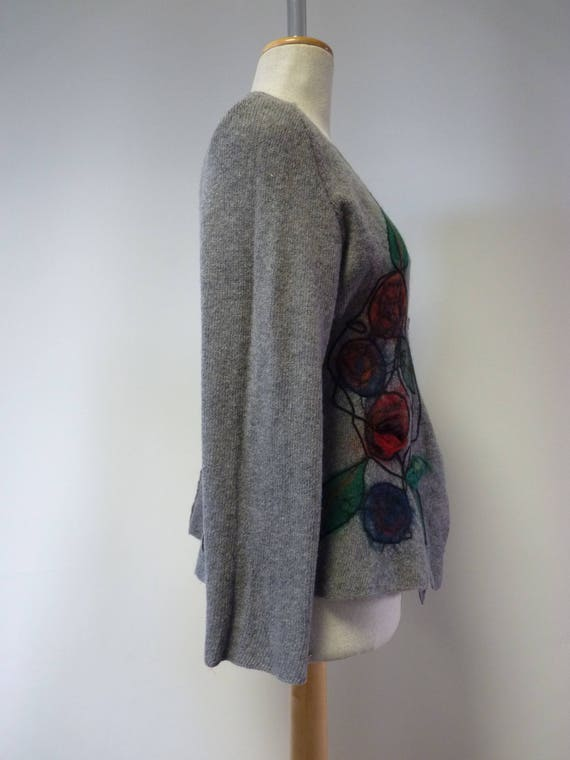 price hot The size cardigan decoration wool Grey M with flowers SZZdqw5