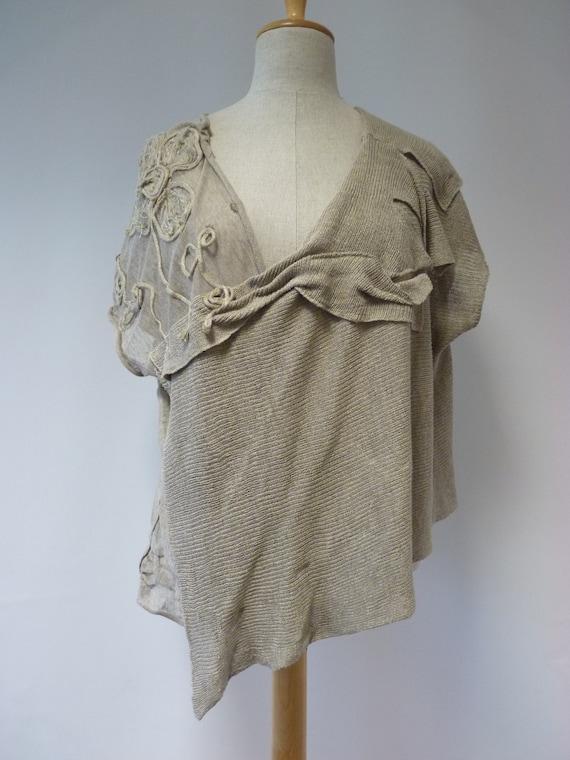 size natural linen deco Art XL blouse qxU8z6w7