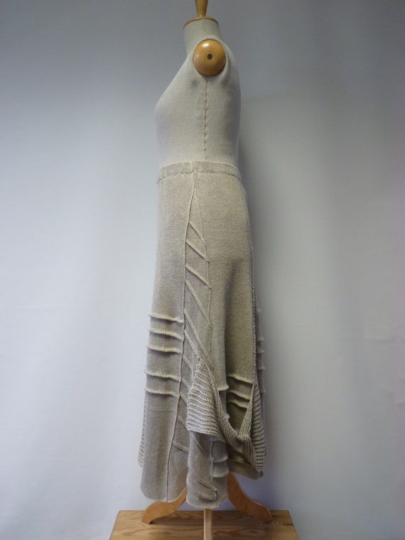 linen Knitted pure of taupe skirt Made XXL size q0Zrq