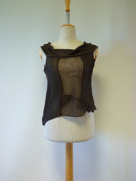 Special size for Perfect Brown transparent price Summer top linen M 8xw8TrHYq