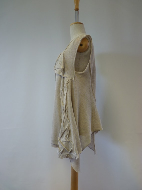one handmade linen natural size L top sample Only Feminine w8ZnxY8