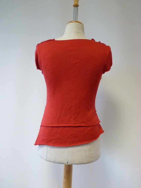 italian size M woollen fashion wool and together red Handmade irregular of made soft Feminine blouse xfcqwXOnBI