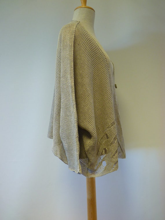 of Essential cardigan taupe pure Made quality size XXL first linen knitted UCqpZwCnxY