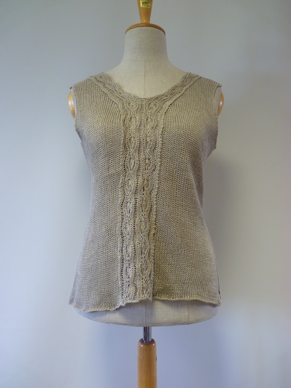 Made knitted Artsy linen pure top L taupe size of npWxwB7vPq