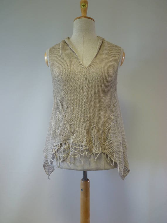 L knitted linen taupe size asymmetrical pure of Made Special top price Summer SIqwpwY