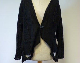 Reserved for Carole. Casual black cotton cardigan, L size.