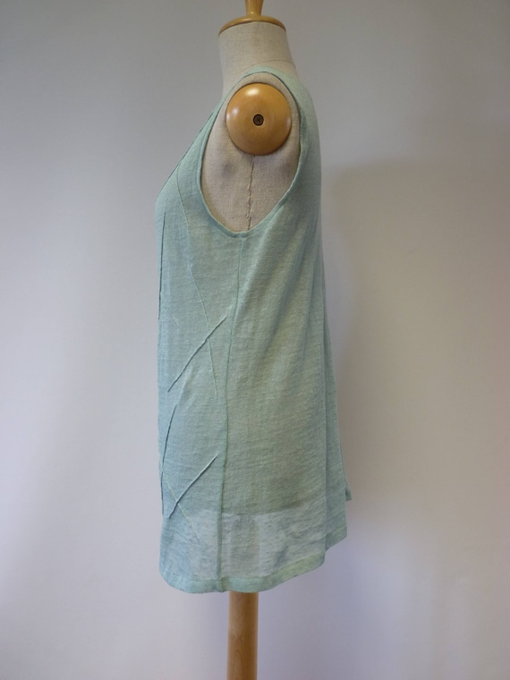 size Summer of pure Made delicate mint blouse L linen colured 7qxBwq6UX