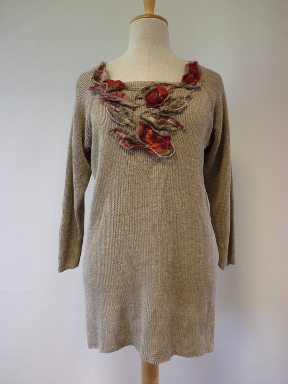 of linen decoration felted Special Casual linen with price pure L sweater size Made F7FXvS