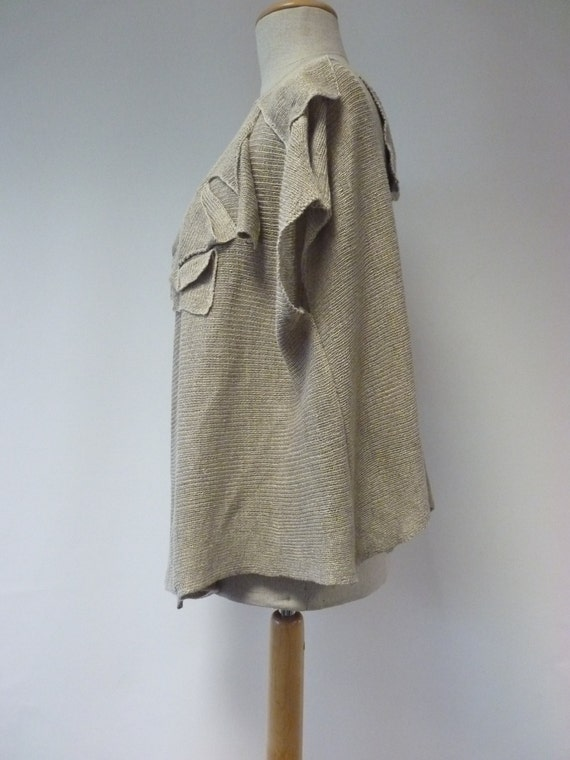 size natural blouse XL Art deco linen q0XR0TA
