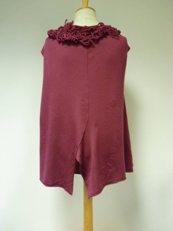 Boho wool italian XL Made vest artsy size soft berry of rFqOZwrn