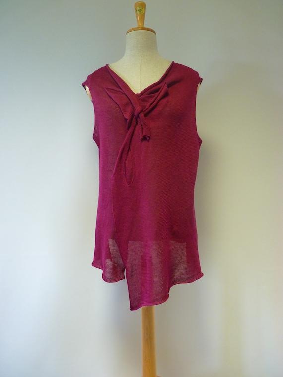size fuchsia knitted top Summer linen XXL ngBAXq0