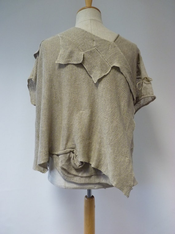 size natural linen deco Art XL blouse qxU8z6w7