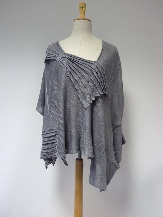 Boho size grey blouse XXL linen ZSxgYqZ