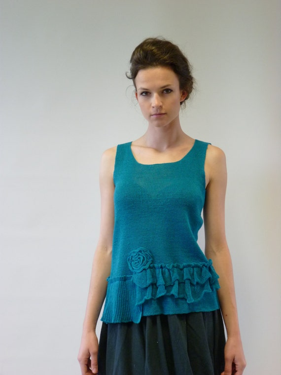 100 Delicate M feminine size handmade blue top linen qUCZqX