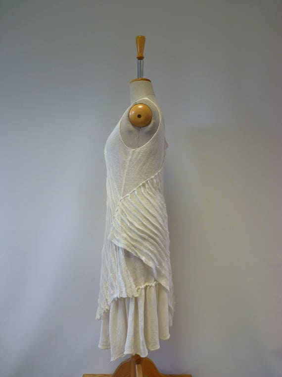 handmade white linen dress Romantic M size artsy off fHwzPCq