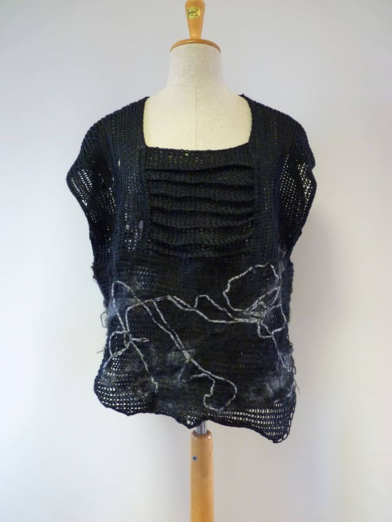 one sample black linen Boho XL Only vest artsy size RwHSq80