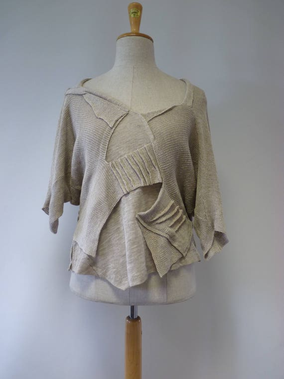 Boho price of size linen Made taupe pure knitted The L blouse hot zgBwxE