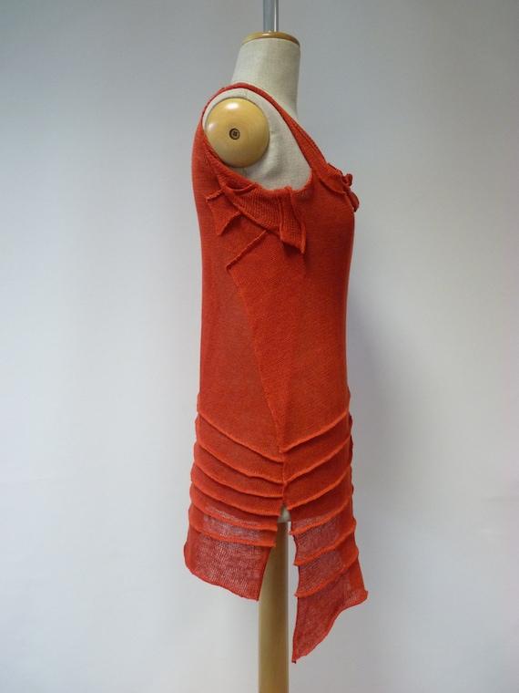top M red linen Artsy size CqUtgxE