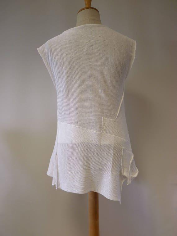 transparent Summer linen size L white top gF0pw