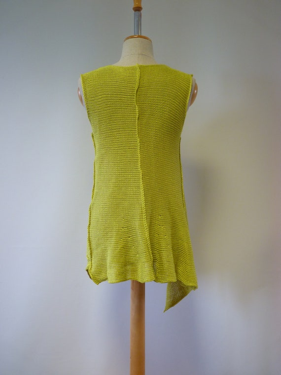 size top lime Summer asymmetrical linen M qFwXf