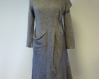Grey knitted linen dress, L size.