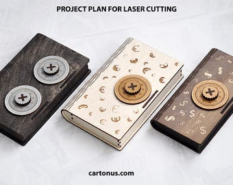 Wallet - wooden box with a pseudo combination lock. Laser cut project plan. Instant download