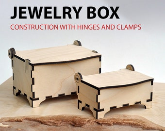 Jewelry box vector template for laser cutting. Instant download