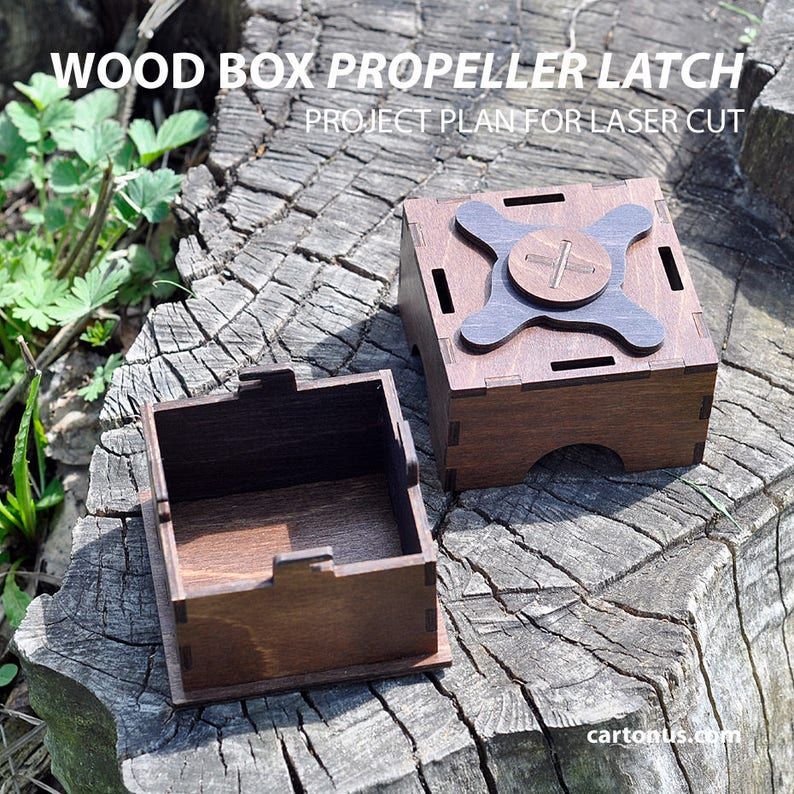 Boxes with propeller latch  Laser cut project plan  Instant download