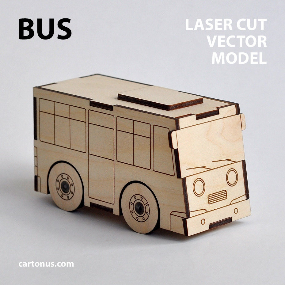 bus & garage wooden toys. vector models for laser cut. instant download