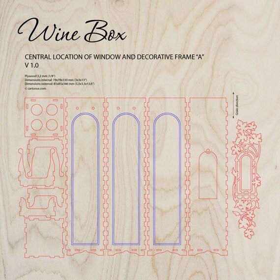 Wein-Box mit Fenster und dekorativen Rahmen. Laser schneiden   Etsy