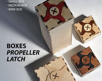 Boxes with propeller latch. Laser cut project plan. Instant download