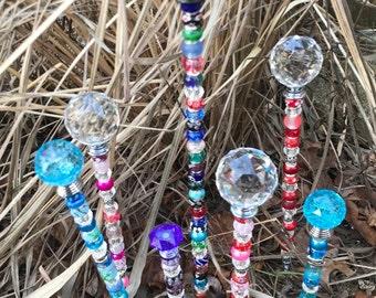 Beaded Garden Stake-Beaded Plant Stake-Fairy Garden-Gardener Gift-Garden Stake-Garden Decor-Garden Art-Sun Catcher-House Warming Gift-Plants