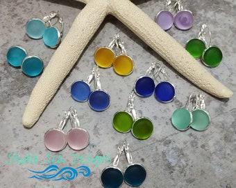 Sterling Silver Sea Glass Earrings-Beach Glass Earrings-Sterling Silver Earrings-Sea Glass Earrings-Sea Glass-Aqua-Turquoise-Teal-Cobalt