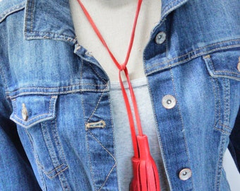 Leather and Bead Tassel Necklace, Multi-Bead Tassel Necklace, Leather Bead Tassel Necklace, Leather Tassel Necklace