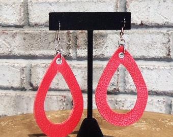 Leather Open Link Teardrop Earrings