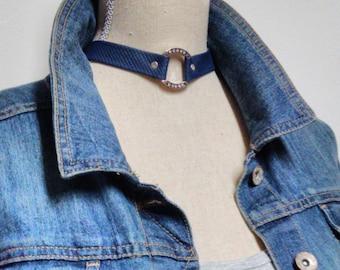 Blue Leather Choker, Blue Leather Choker Necklace, Blue Leather Necklace, Denim Leather Choker, Denim Leather, Rhinestone Leather Choker