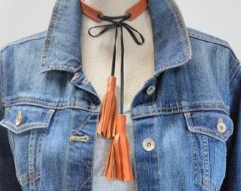 Purple Leather Tassel Necklace, 2 Tone Leather Multi-Tassel Necklace,  Saddle Leather Tassel Necklace, Double Tassel Leather Necklace